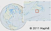 Savanna Style Location Map of Saint Pierre and Miquelon, lighten, hill shading