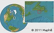 Savanna Style Location Map of Saint Pierre and Miquelon, satellite outside
