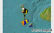 Flag Map of Saint Pierre and Miquelon, satellite outside