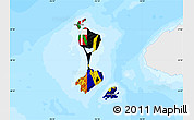 Flag Map of Saint Pierre and Miquelon, single color outside, bathymetry sea