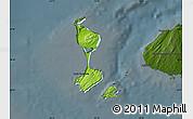Physical Map of Saint Pierre and Miquelon, darken