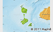 Physical Map of Saint Pierre and Miquelon, political outside, shaded relief sea