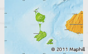Physical Map of Saint Pierre and Miquelon, political shades outside, shaded relief sea