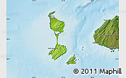 Physical Map of Saint Pierre and Miquelon, satellite outside, shaded relief sea