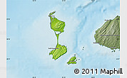 Physical Map of Saint Pierre and Miquelon, semi-desaturated, land only