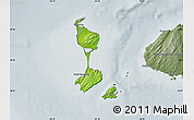 Physical Map of Saint Pierre and Miquelon, semi-desaturated