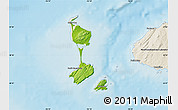 Physical Map of Saint Pierre and Miquelon, shaded relief outside