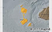 Political Shades Map of Saint Pierre and Miquelon, darken, semi-desaturated