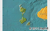 Satellite Map of Saint Pierre and Miquelon, political shades outside, satellite sea