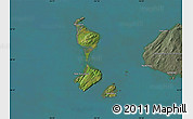 Satellite Map of Saint Pierre and Miquelon, semi-desaturated, land only