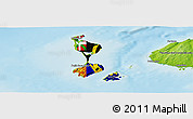 Flag Panoramic Map of Saint Pierre and Miquelon, physical outside