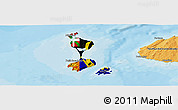Flag Panoramic Map of Saint Pierre and Miquelon, political outside