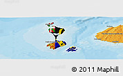 Flag Panoramic Map of Saint Pierre and Miquelon, political shades outside