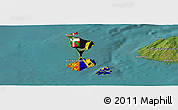 Flag Panoramic Map of Saint Pierre and Miquelon, satellite outside
