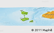Physical Panoramic Map of Saint Pierre and Miquelon, political shades outside, shaded relief sea