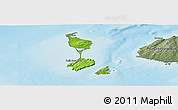 Physical Panoramic Map of Saint Pierre and Miquelon, semi-desaturated, land only