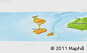 Political Panoramic Map of Saint Pierre and Miquelon, physical outside