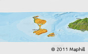 Political Panoramic Map of Saint Pierre and Miquelon, satellite outside, bathymetry sea