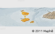 Political Panoramic Map of Saint Pierre and Miquelon, semi-desaturated
