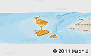 Political Panoramic Map of Saint Pierre and Miquelon, shaded relief outside, bathymetry sea