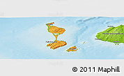Political Shades Panoramic Map of Saint Pierre and Miquelon, physical outside