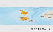 Political Shades Panoramic Map of Saint Pierre and Miquelon, shaded relief outside, bathymetry sea
