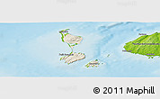 Shaded Relief Panoramic Map of Saint Pierre and Miquelon, physical outside