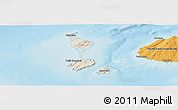 Shaded Relief Panoramic Map of Saint Pierre and Miquelon, political outside, shaded relief sea