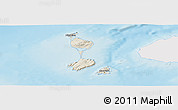 Shaded Relief Panoramic Map of Saint Pierre and Miquelon, single color outside