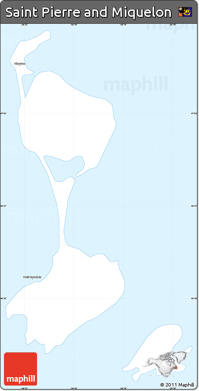 Classic Style Simple Map of Saint Pierre and Miquelon