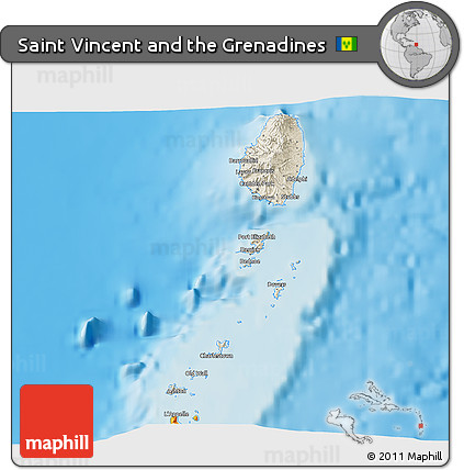 Free Shaded Relief D Map Of Saint Vincent And The Grenadines - Saint vincent and the grenadines map