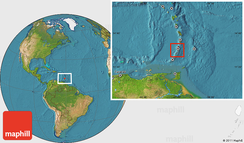 Satellite Location Map Of Saint Vincent And The Grenadines - Saint vincent and the grenadines map