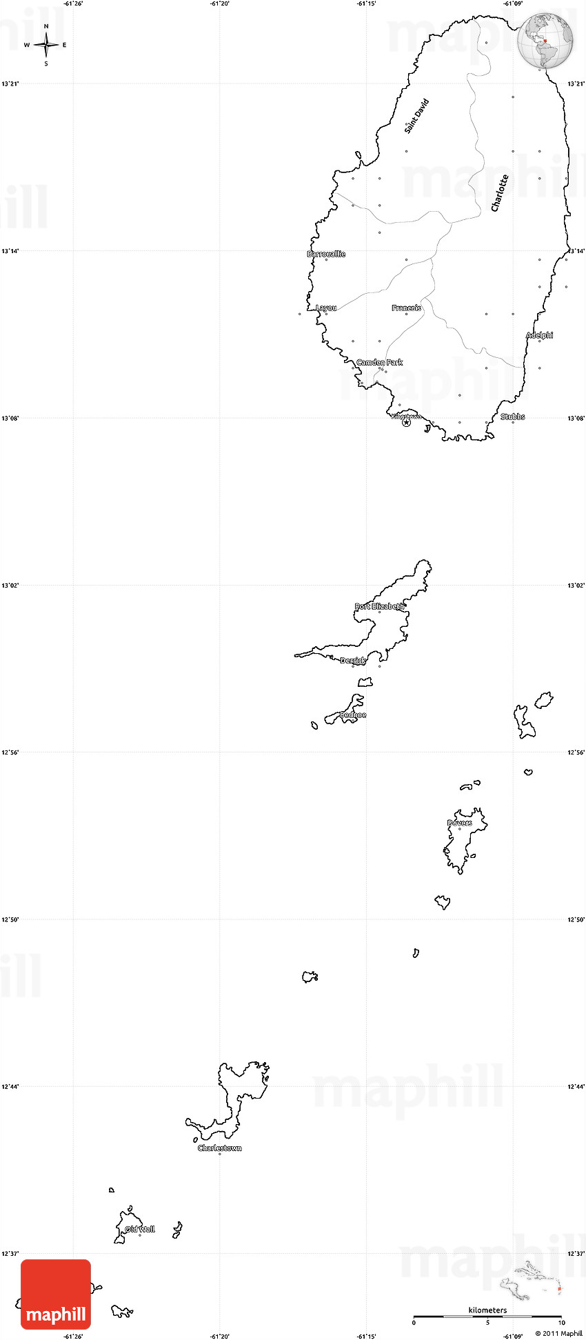 blank simple map of saint vincent and the grenadines