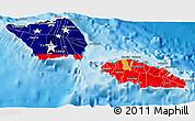 Flag 3D Map of Samoa, political shades outside