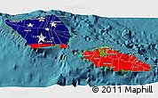 Flag 3D Map of Samoa, satellite outside