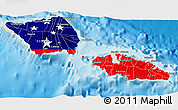 Flag 3D Map of Samoa, shaded relief outside