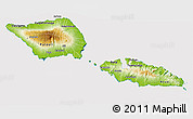 Physical 3D Map of Samoa, cropped outside