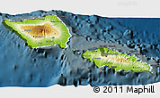 Physical 3D Map of Samoa, darken