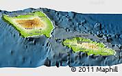 Physical 3D Map of Samoa, darken