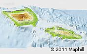 Physical 3D Map of Samoa, lighten