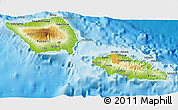 Physical 3D Map of Samoa, political outside, shaded relief sea