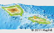 Physical 3D Map of Samoa, political shades outside, shaded relief sea
