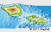 Physical 3D Map of Samoa, satellite outside, shaded relief sea