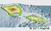 Physical 3D Map of Samoa, semi-desaturated