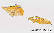 Political Shades 3D Map of Samoa, cropped outside