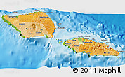 Political Shades 3D Map of Samoa, physical outside