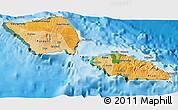 Political Shades 3D Map of Samoa, satellite outside, bathymetry sea