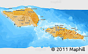 Political Shades 3D Map of Samoa, semi-desaturated, land only