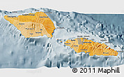 Political Shades 3D Map of Samoa, semi-desaturated
