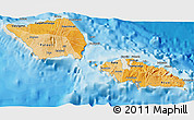 Political Shades 3D Map of Samoa, shaded relief outside, bathymetry sea
